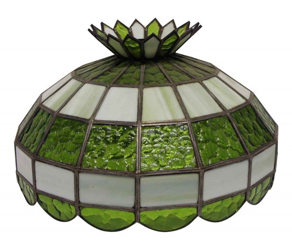 Globes & Shades - Tiffany Style Green & White Stained Glass Shade