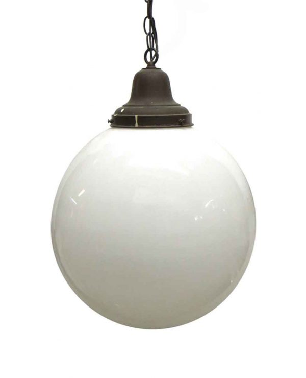 Globes - Vintage Large Round Milk Glass 16 in. Globe Pendant Light