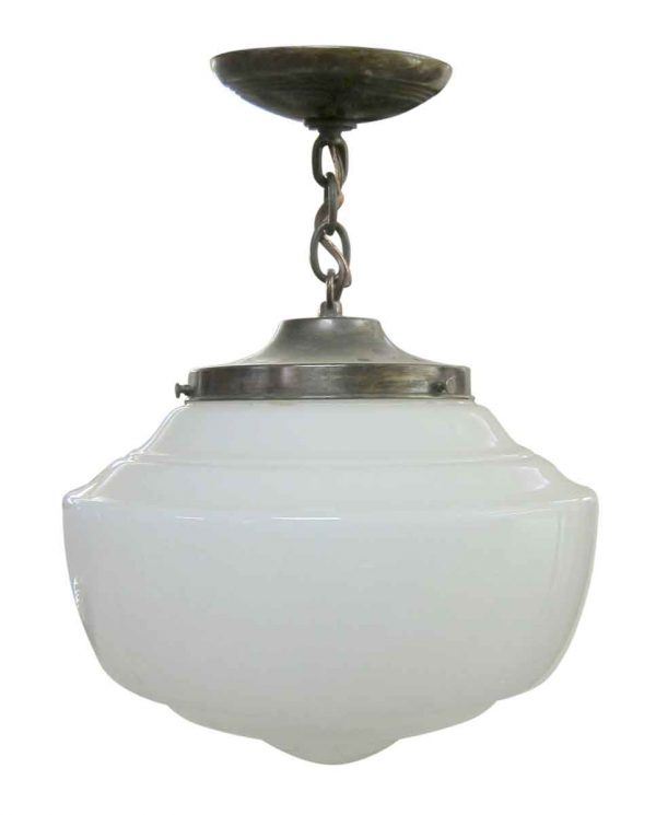 Globes - White Milk Glass Globe with Brass Chain Fitter