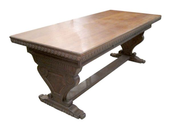 Kitchen & Dining - 19th Century Carved Walnut Trestle Table