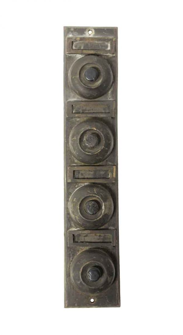 Knockers & Door Bells - Salvaged Bronze 4 Apartment Doorbell Unit
