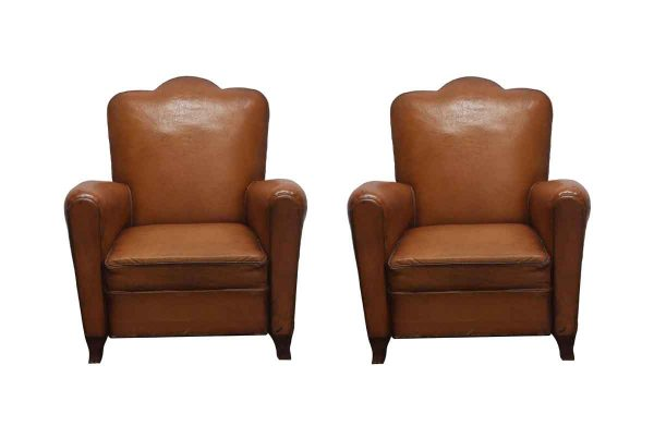 Living Room - Pair of Vintage Imported Brown Leather Club Chairs