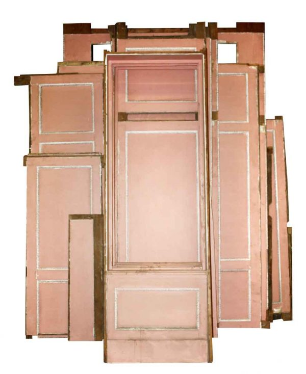 Paneled Rooms & Wainscoting - Antique Hand Painted Pastel Pink Wood Paneling