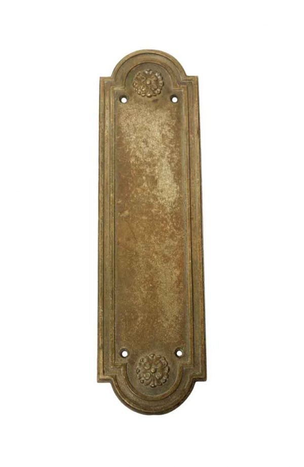 Push Plates - Antique Russell & Erwin Brass Roland Door Push Plate