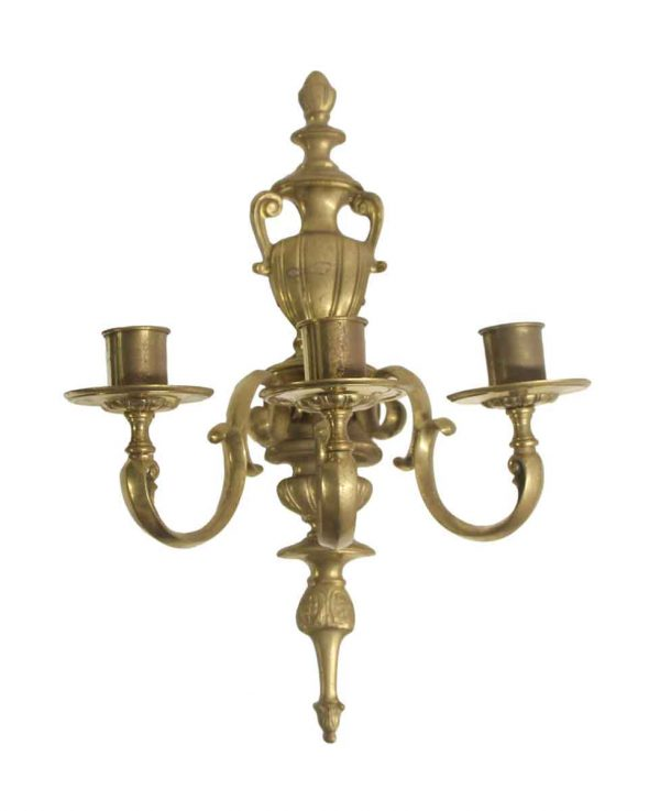 Sconces & Wall Lighting - Federal Cast Brass 3 Arm Wall Sconce