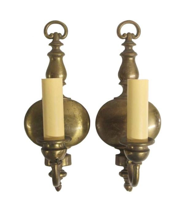 Sconces & Wall Lighting - Pair of Antique Brass Federal Wall Sconces
