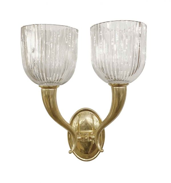 Sconces & Wall Lighting - Pair of Modern Brass Crystal Fluted Shade Two Arm Wall Sconces