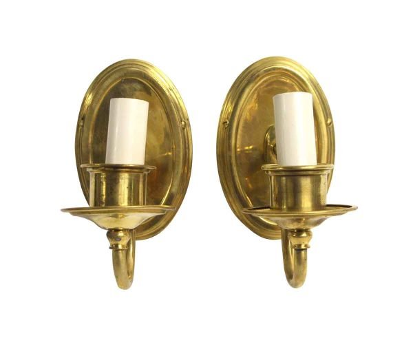 Sconces & Wall Lighting - Pair of Traditional Oval Back Brass Wall Sconces