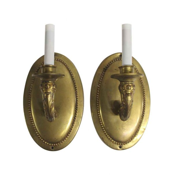 Sconces & Wall Lighting - Traditional Large Brass Oval 1 Arm Wall Sconces