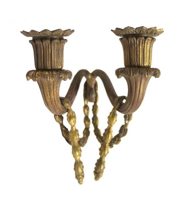 Sconces & Wall Lighting - Vintage Cast Metal Tulip Candle Wall Sconce