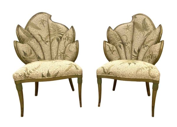 Seating - Unique Antique Tan and Green Fern Chairs