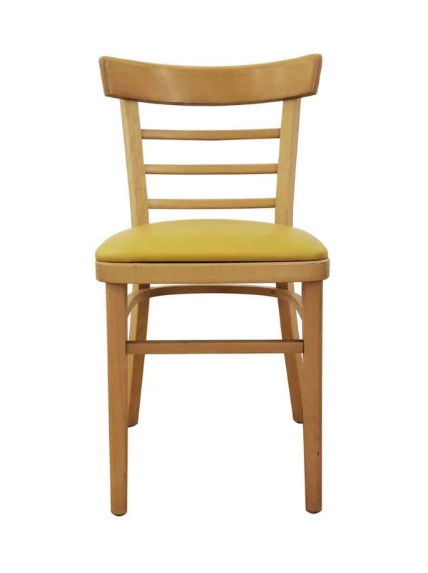 Seating - Vintage Maple Wood Three Slat Ladder Back Yellow Seat Chair
