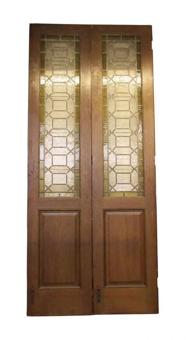 Standard Doors - Oak & Leaded Stained Glass Double Bi-fold Doors