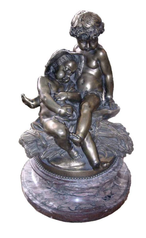 Statues & Sculptures - 1850s Bronze Sculpture of Two Children Signed Pigalle