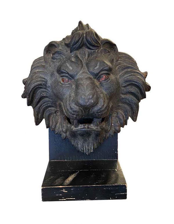 Statues & Sculptures - Cast Iron Lion Head on Wood Base