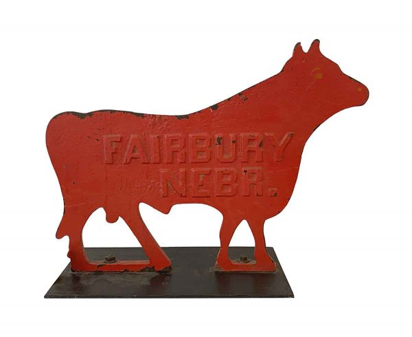 Statues & Sculptures - Large Red Cow Cast Iron Windmill Weight