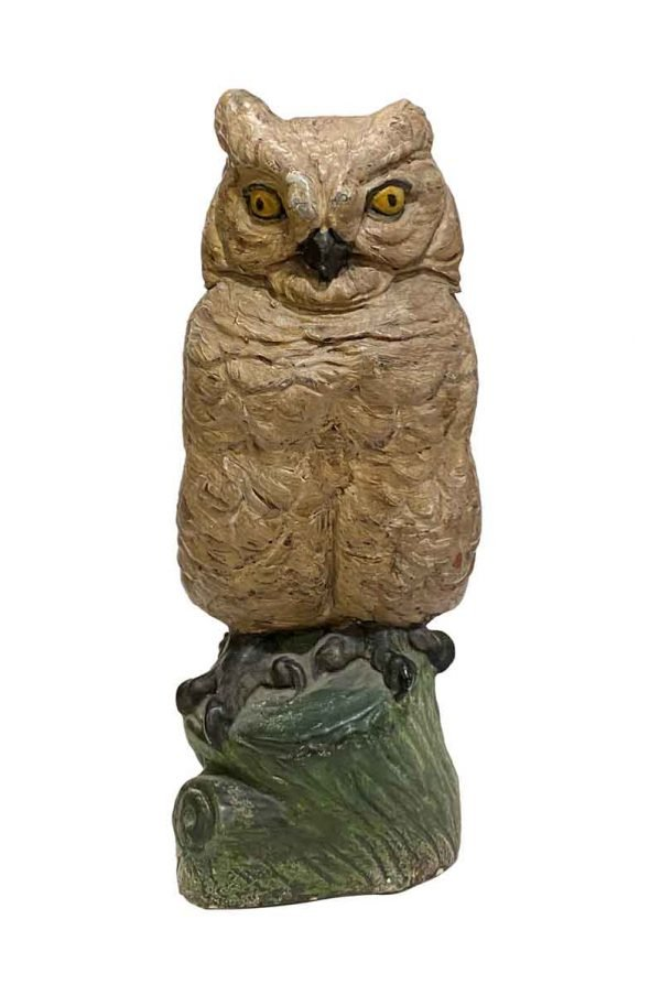 Statues & Sculptures - Painted Cast Concrete Owl Statue