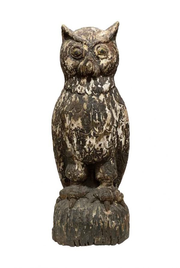 Statues & Sculptures - Vintage Americana Carved Wooden Owl Statue