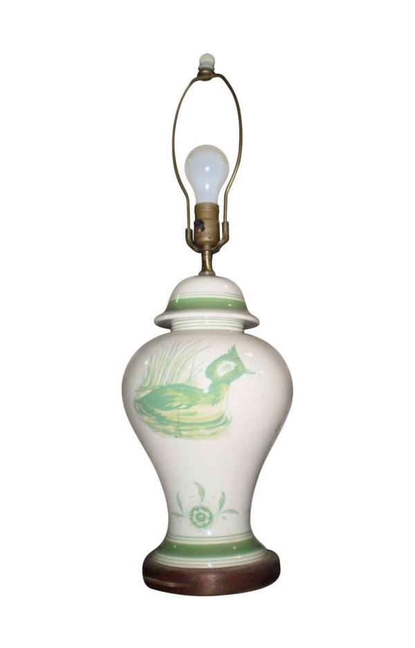 Table Lamps - Vintage White Ceramic Table Lamp with Birds