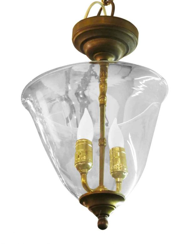 Up Lights - Ceiling Brass Up Light Pendant with Glass Globe