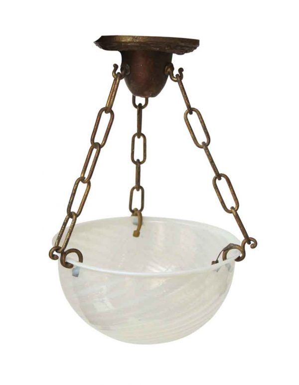 Up Lights - Original Spun Opaline Glass Shade Up Pendant Light