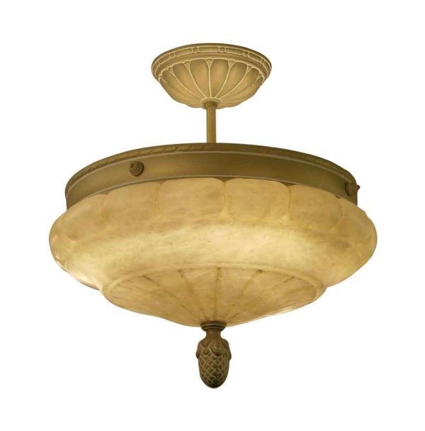 Up Lights - Waldorf Astoria Alabaster Semi Flush Dish Light