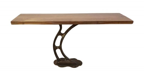 Altered Antiques - 5 ft Walnut Console Table with Cast Iron Industrial Base