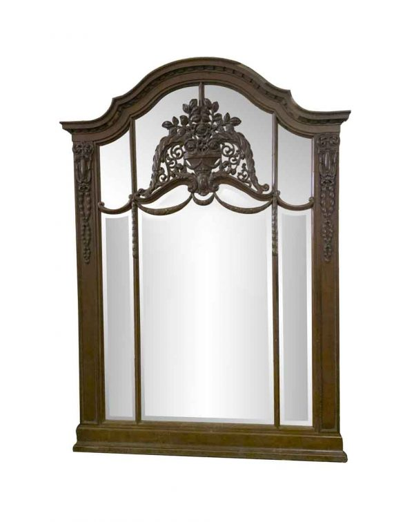 Antique Mirrors - 19th Century French Carved 7 ft Carved Oak Floral Mirror