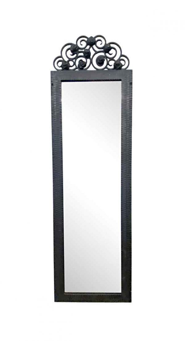 Antique Mirrors - Imported Wrought Iron Art Deco Mirror with Beveled Glass