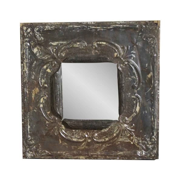 Antique Tin Mirrors - Square Brown Antique Tin Mirror