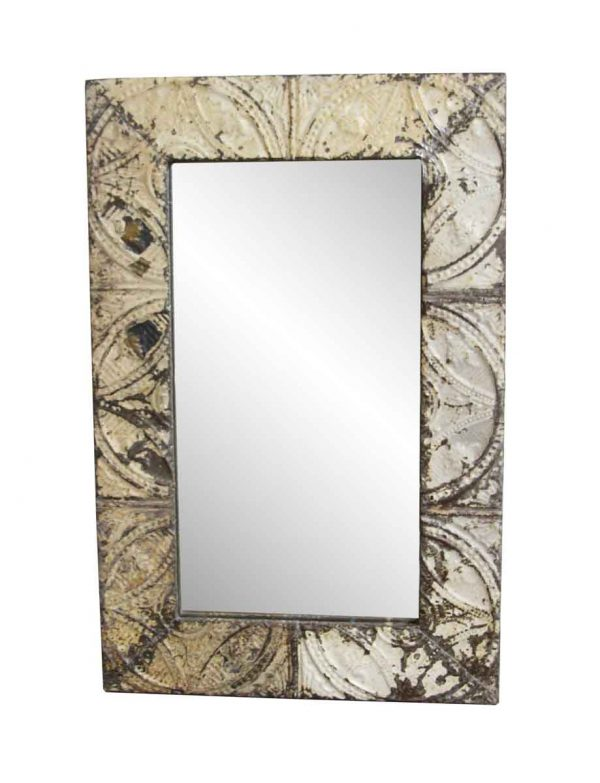 Antique Tin Mirrors - White & Tan Mixed Pattern Antique Tin Mirror