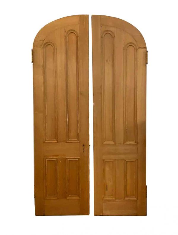 Arched Doors - Antique 4 Pane Pine Arched Double Doors 107.5 x 58.5