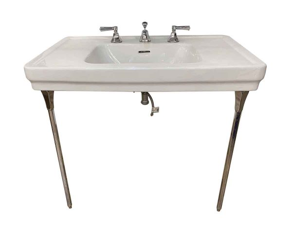 Bathroom - 1950s Standard Co. Wide Console Sink with Polished Nickel Legs