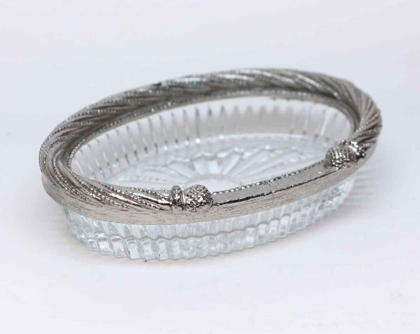 Bathroom - Olde New Stock Nickel Plated Glass Soap Dish
