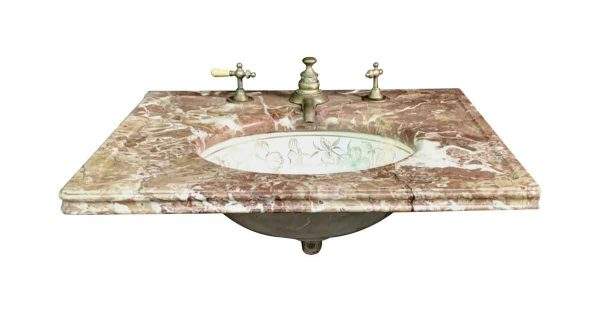 Bathroom - Reclaimed Marble Sink with Decorative Floral Bowls