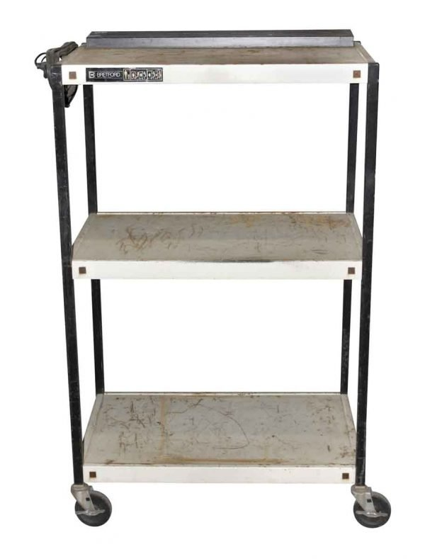 Carts - Vintage Office Metal 3 Tier Cart with Outlets
