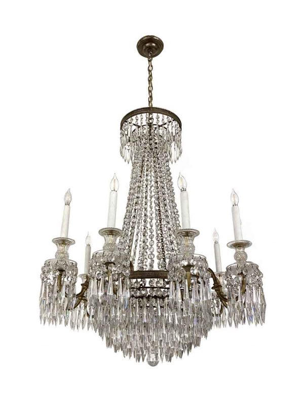 Chandeliers - Antique 1920s French Regency Crystal & Bronze Chandelier