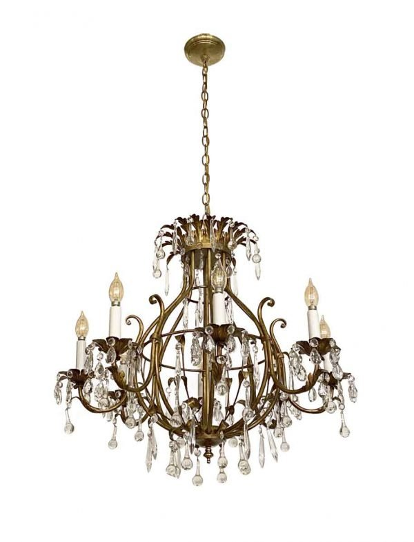 Chandeliers - Florentine Style Crystal & Gilt Metal Chandelier