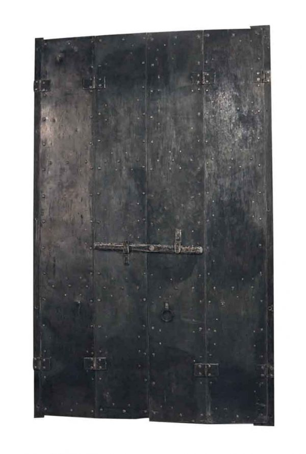 Exterior Materials - Pair of Steel Bi-fold Shutters with Cast Iron Details