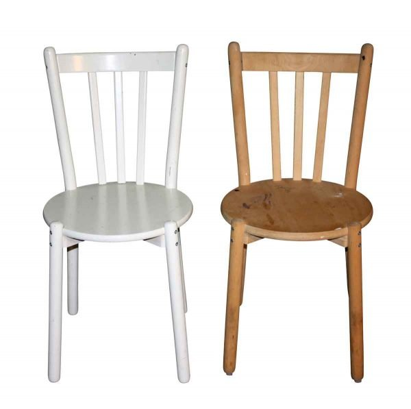 Flea Market - Pair of White & Light Wood Simple Chairs