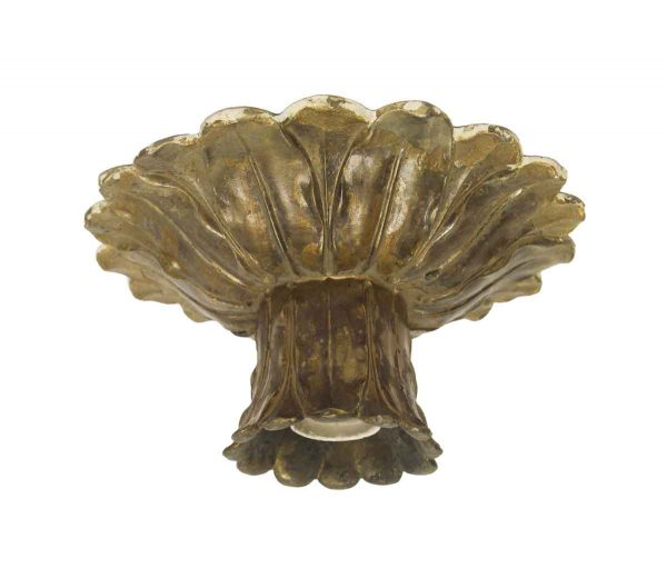 Flush & Semi Flush Mounts - 1900s Cast Bronze Petite Floral Flush Mount Light