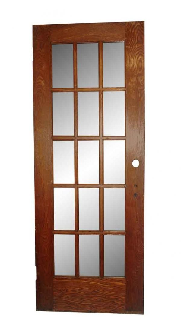 French Doors - Antique 15 Lite Stained Oak French Door 79 x 30