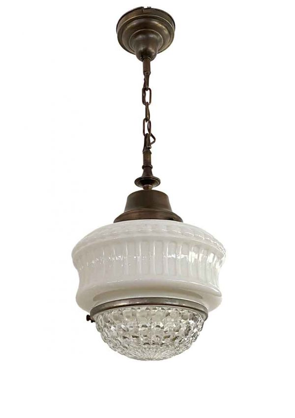 Globes - Antique 12 in. Milk Glass & Faceted Cast Glass Pendant Light