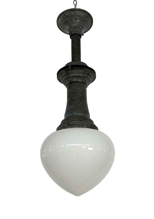 Globes - Heavy Milk Glass Acorn Shade Pendant Light with Brass Carbon Arch Lamp Style Fitter