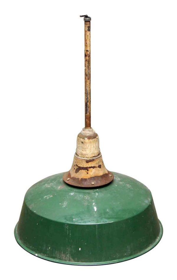 Industrial & Commercial - Extra Large 22 in. Green Metal Shade Pole Pendant Light