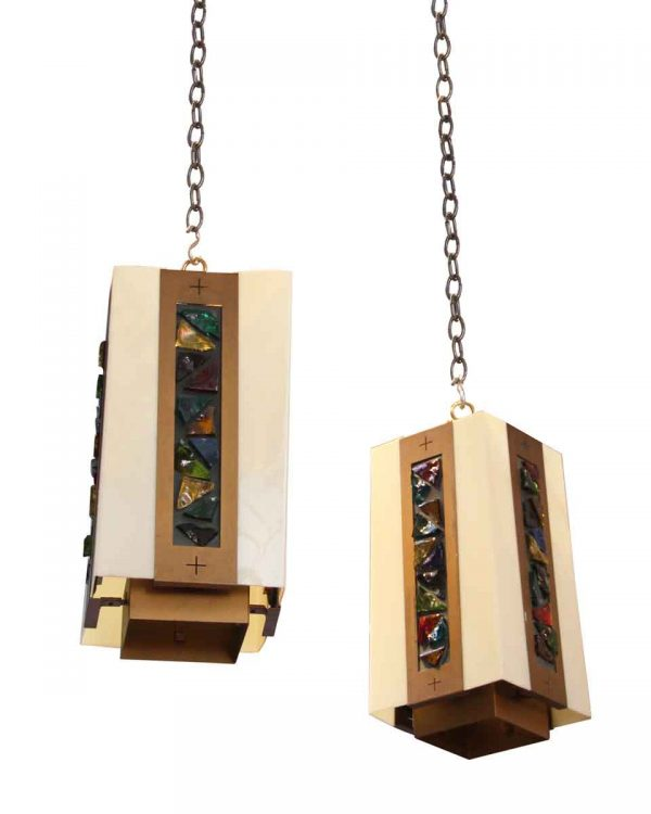 Industrial & Commercial - Mid Century Brutalist Jewel Chunk Pendant Lights