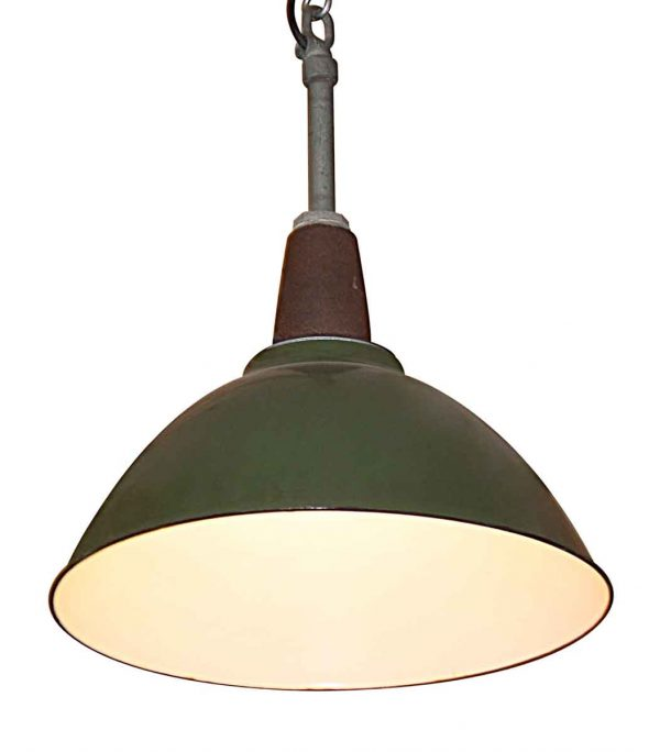 Industrial & Commercial - Vintage 18 in. Green Enamel Industrial Pendant Light