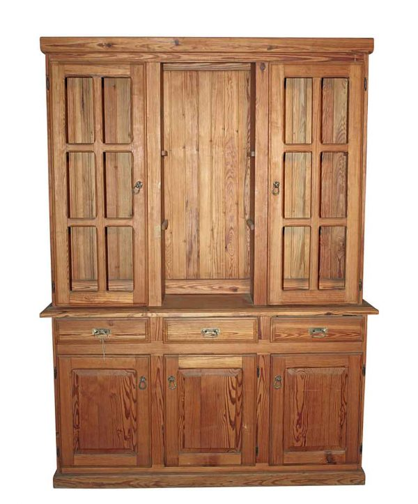 Kitchen & Dining - Vintage 6.5 ft Heart Pine Hutch