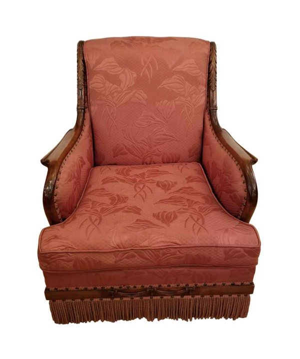 Living Room - Pink Upholstered Chair With Nailheads & Bullion Fringe