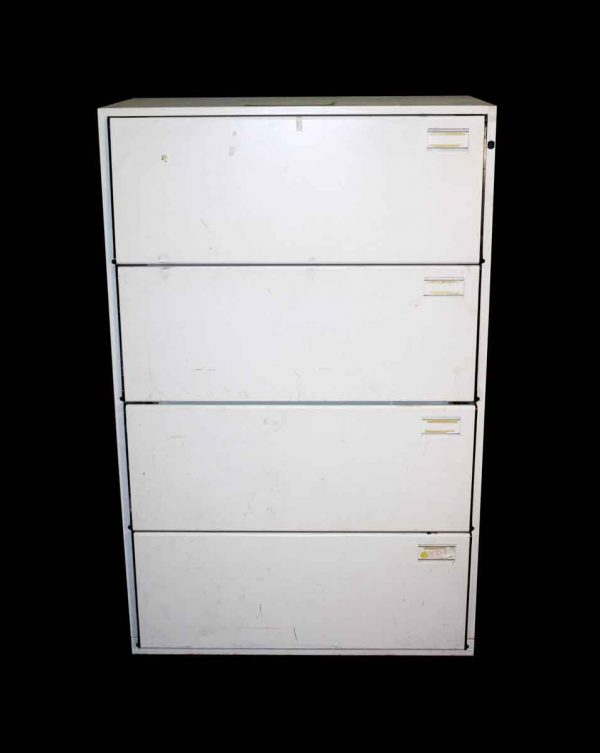 Office Furniture - Vintage White 4 Drawer Lateral Filing Cabinet